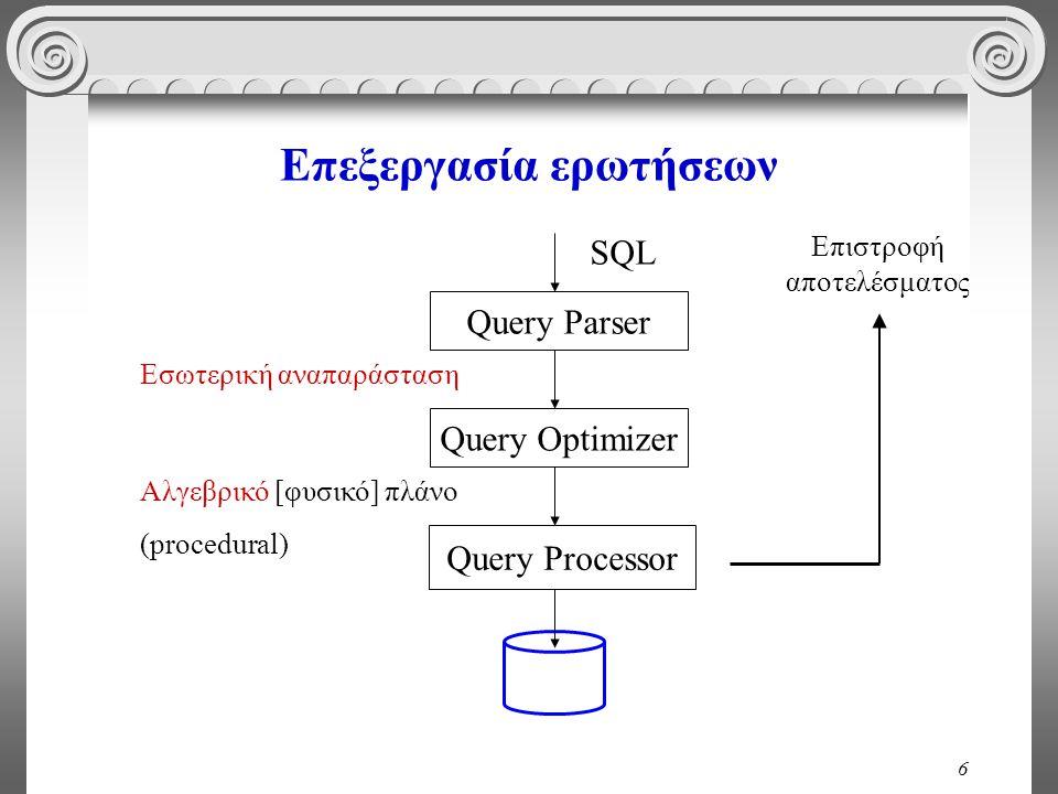 6 Επεξεργασία ερωτήσεων Query Parser Query Optimizer Query Processor SQL Εσωτερική αναπαράσταση Αλγεβρικό [φυσικό] πλάνο (procedural) Επιστροφή αποτελ
