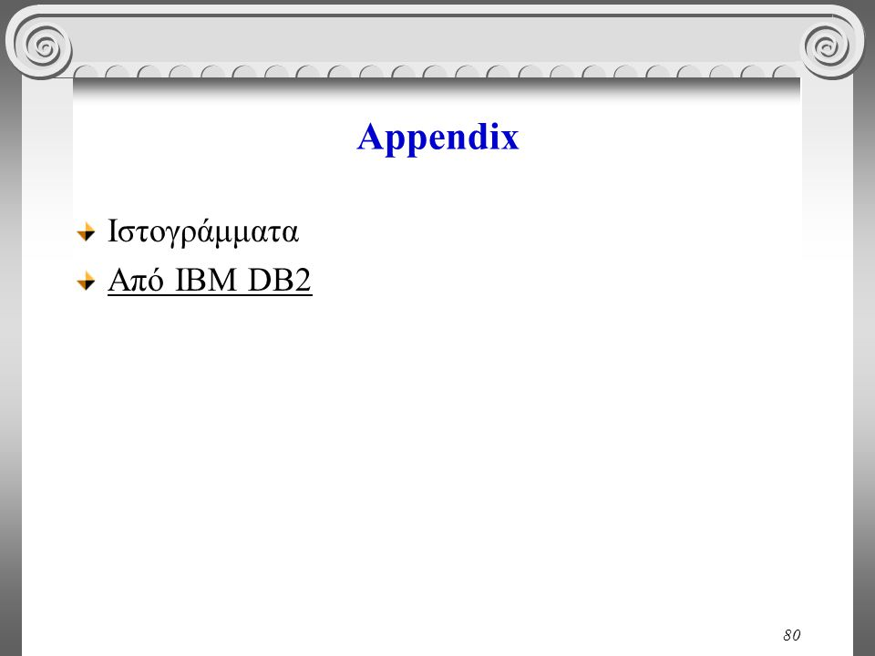 80 Appendix Ιστογράμματα Από ΙΒΜ DB2
