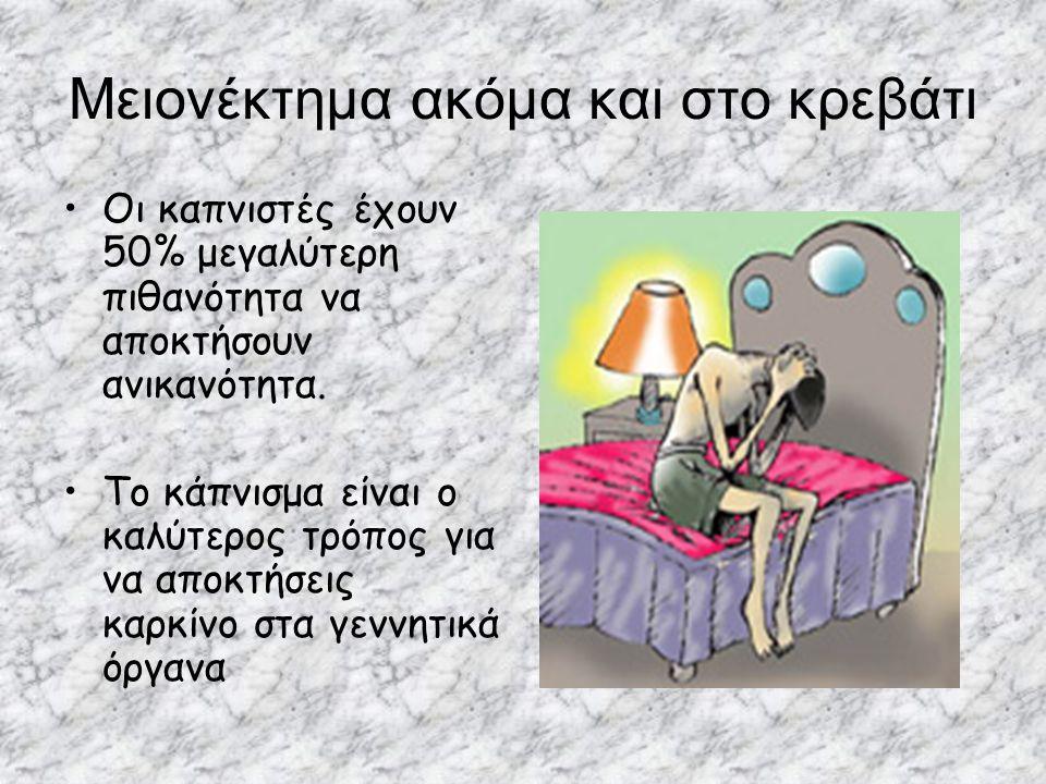 Μειονέκτημα ακόμα και στο κρεβάτι Οι καπνιστές έχουν 50% μεγαλύτερη πιθανότητα να αποκτήσουν ανικανότητα. Tο κάπνισμα είναι ο καλύτερος τρόπος για να