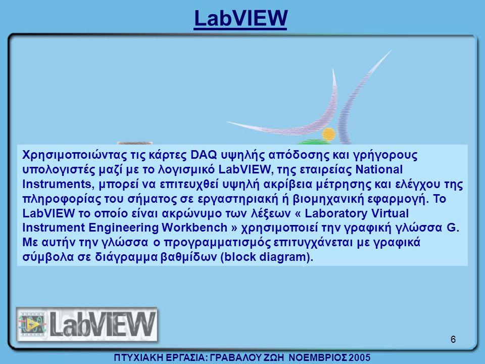 6 Χρησιμοποιώντας τις κάρτες DAQ υψηλής απόδοσης και γρήγορους υπολογιστές μαζί με το λογισμικό LabVIEW, της εταιρείας National Instruments, μπορεί να επιτευχθεί υψηλή ακρίβεια μέτρησης και ελέγχου της πληροφορίας του σήματος σε εργαστηριακή ή βιομηχανική εφαρμογή.
