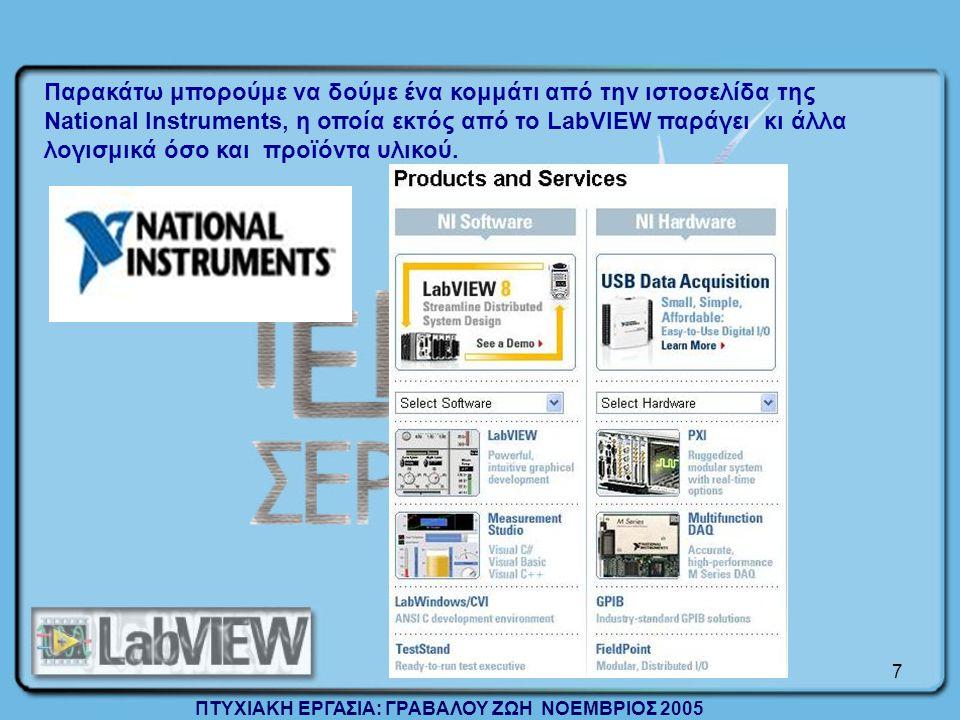 7 Παρακάτω μπορούμε να δούμε ένα κομμάτι από την ιστοσελίδα της National Instruments, η οποία εκτός από το LabVIEW παράγει κι άλλα λογισμικά όσο και προϊόντα υλικού.
