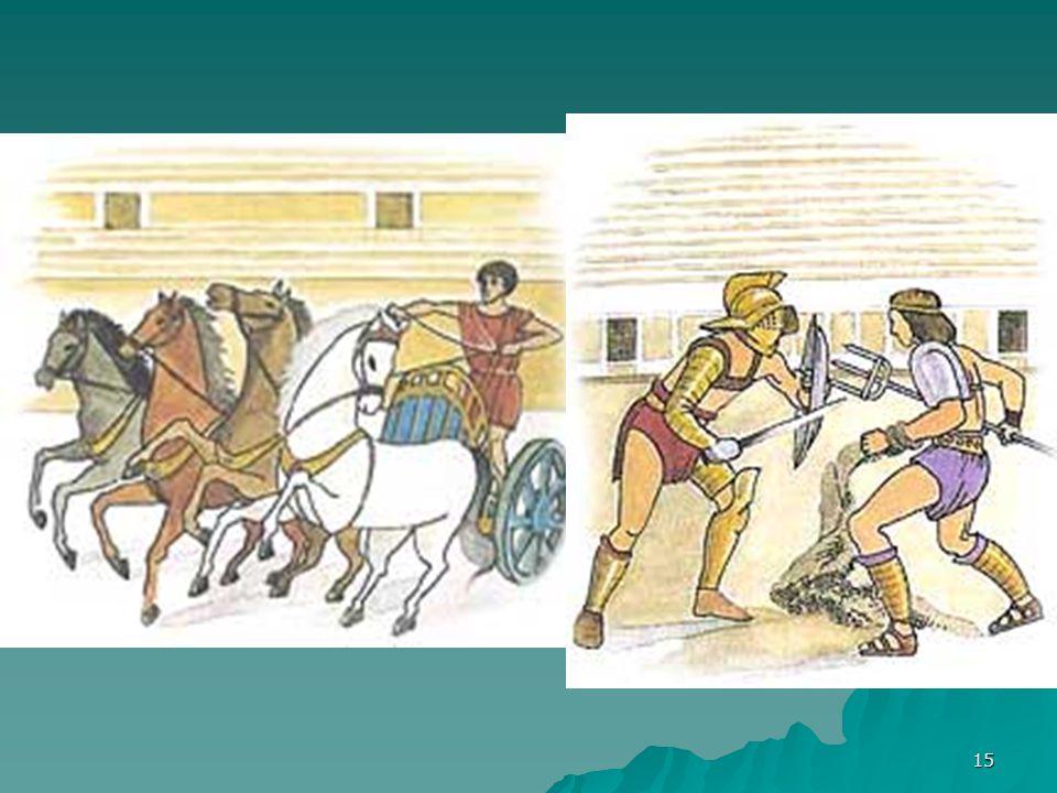 14 Η ζωή των μονομάχων Οι μονομάχοι ήταν σκλάβοι, αιχμάλωτοι πολέμου ή κακοποιοί. Έπρεπε να παλέψουν σώμα με σώμα με κάποιον και η μάχη τελείωνε όταν