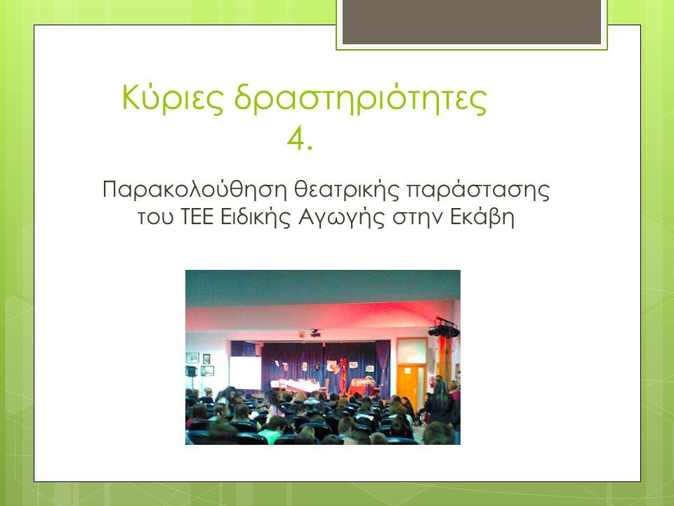 Κύριες δραστηριότητες 4. Παρακολούθηση θεατρικής παράστασης του ΤΕΕ Ειδικής Αγωγής στην Εκάβη