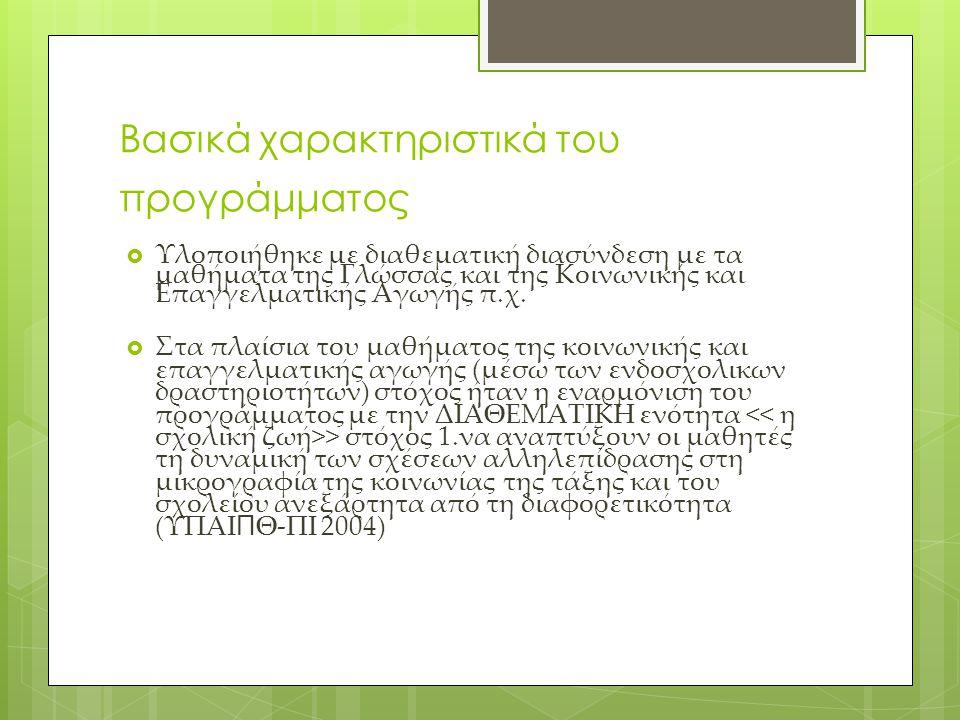 Βασικά χαρακτηριστικά του προγράμματος  Υλοποιήθηκε με διαθεματική διασύνδεση με τα μαθήματα της Γλώσσας και της Κοινωνικής και Επαγγελματικής Αγωγής