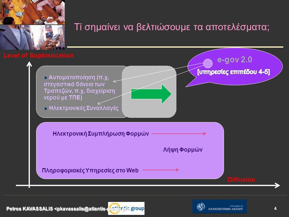 Τί σημαίνει να βελτιώσουμε τα αποτελέσματα; Petros KAVASSALIS 4 Level of Sophistication Diffusion Πληροφοριακές Υπηρεσίες στο Web Λήψη Φορμών Ηλεκτρονική Συμπλήρωση Φορμών Αυτοματοποίηση (π.χ.