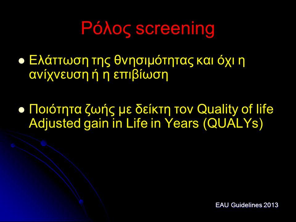 Ρόλος screening Ελάττωση της θνησιμότητας και όχι η ανίχνευση ή η επιβίωση Ποιότητα ζωής με δείκτη τον Quality of life Adjusted gain in Life in Years