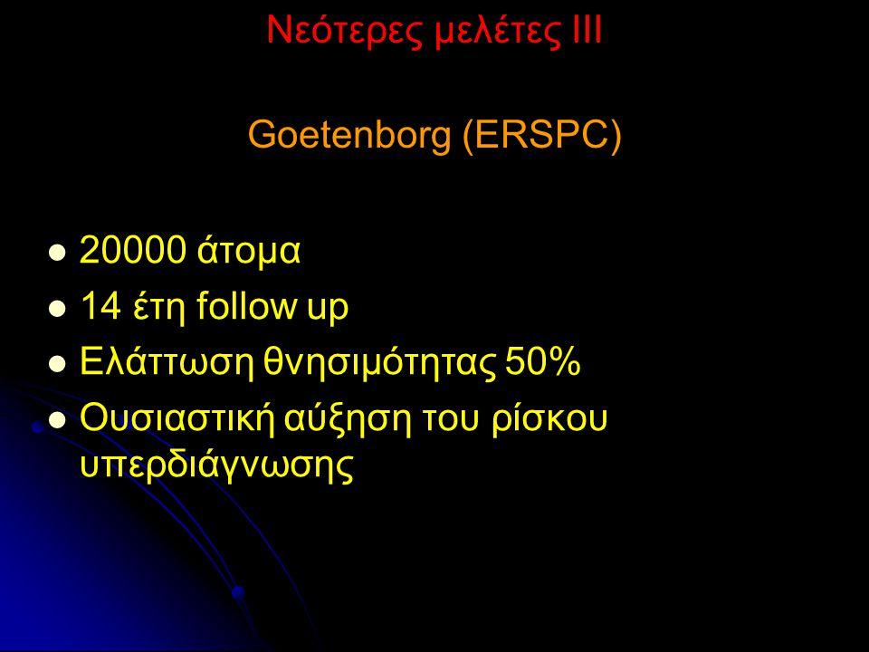 Νεότερες μελέτες ΙΙΙ Goetenborg (ERSPC) 20000 άτομα 14 έτη follow up Ελάττωση θνησιμότητας 50% Ουσιαστική αύξηση του ρίσκου υπερδιάγνωσης