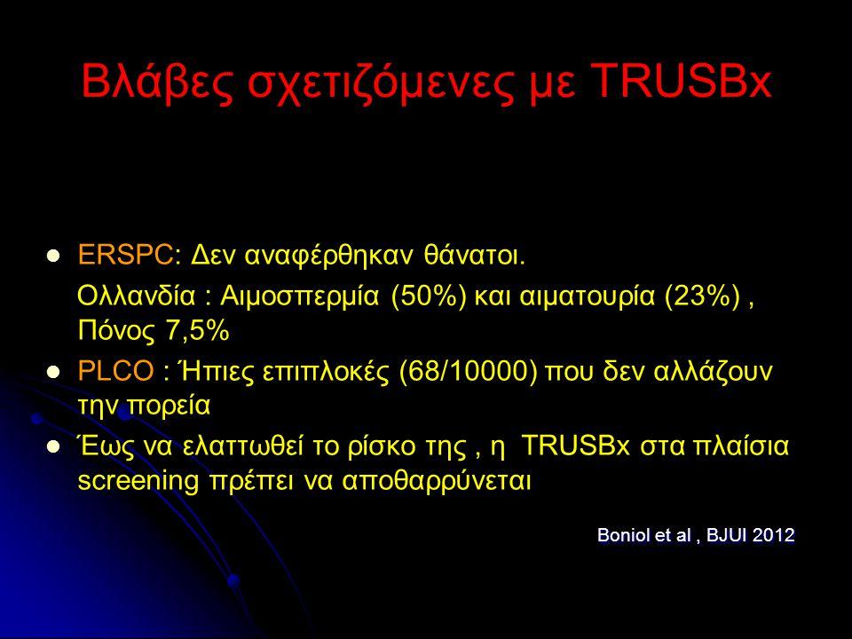 Βλάβες σχετιζόμενες με TRUSBx ERSPC: Δεν αναφέρθηκαν θάνατοι. Ολλανδία : Αιμοσπερμία (50%) και αιματουρία (23%), Πόνος 7,5% PLCO : Ήπιες επιπλοκές (68