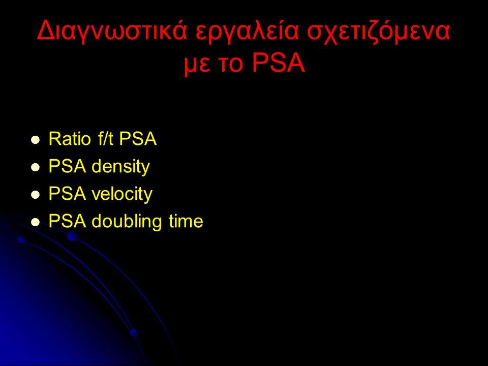 Διαγνωστικά εργαλεία σχετιζόμενα με το PSA Ratio f/t PSA PSA density PSA velocity PSA doubling time