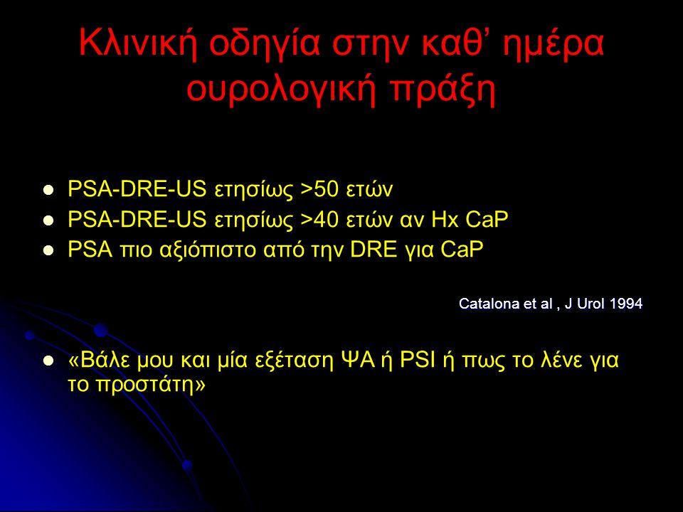 Κλινική οδηγία στην καθ' ημέρα ουρολογική πράξη PSA-DRE-US ετησίως >50 ετών PSA-DRE-US ετησίως >40 ετών αν Hx CaP PSA πιο αξιόπιστο από την DRE για Ca