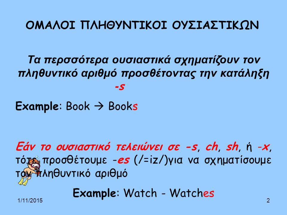 1/11/20152 ΟΜΑΛΟΙ ΠΛΗΘΥΝΤΙΚΟΙ ΟΥΣΙΑΣΤΙΚΩΝ Τα περσσότερα ουσιαστικά σχηματίζουν τον πληθυντικό αριθμό προσθέτοντας την κατάληξη - s Example: Book  Books Εάν το ουσιαστικό τελειώνει σε -s, ch, sh, ή -x, τότε προσθέτουμε -es (/=iz/)για να σχηματίσουμε τον πληθυντικό αριθμό Example: Watch - Watches