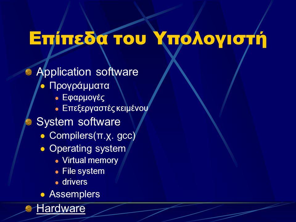 Επίπεδα του Υπολογιστή Application software Προγράμματα Εφαρμογές Επεξεργαστές κειμένου System software Compilers(π.χ.