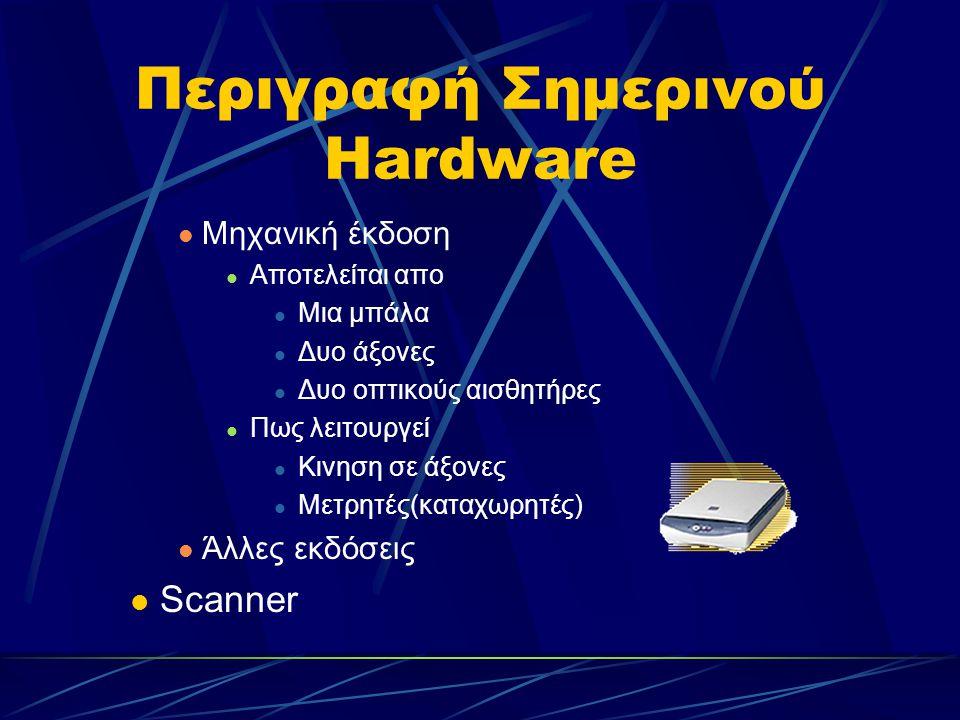 Περιγραφή Σημερινού Hardware Μηχανική έκδοση Αποτελείται απο Μια μπάλα Δυο άξονες Δυο οπτικούς αισθητήρες Πως λειτουργεί Κινηση σε άξονες Μετρητές(καταχωρητές) Άλλες εκδόσεις Scanner