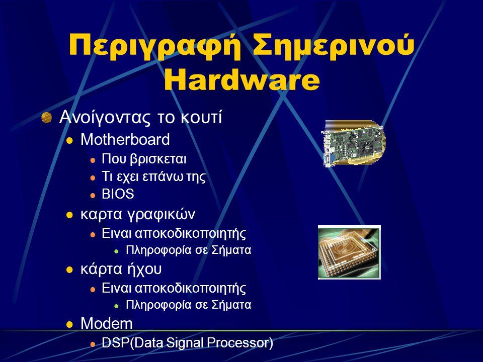 Περιγραφή Σημερινού Hardware Ανοίγοντας το κουτί Motherboard Που βρισκεται Τι εχει επάνω της ΒΙΟS καρτα γραφικών Ειναι αποκοδικοποιητής Πληροφορία σε Σήματα κάρτα ήχου Ειναι αποκοδικοποιητής Πληροφορία σε Σήματα Μοdem DSP(Data Signal Processor)