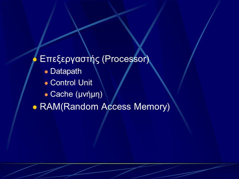 Επεξεργαστής (Processor) Datapath Control Unit Cache (μνήμη) RAM(Random Access Memory)