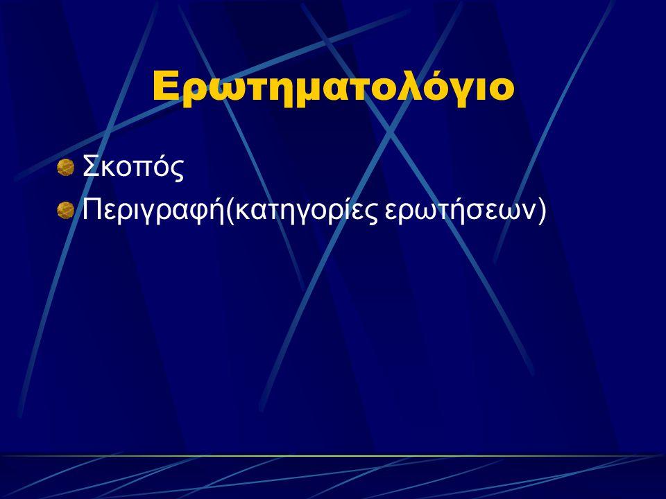 Ερωτηματολόγιο Σκοπός Περιγραφή(κατηγορίες ερωτήσεων)