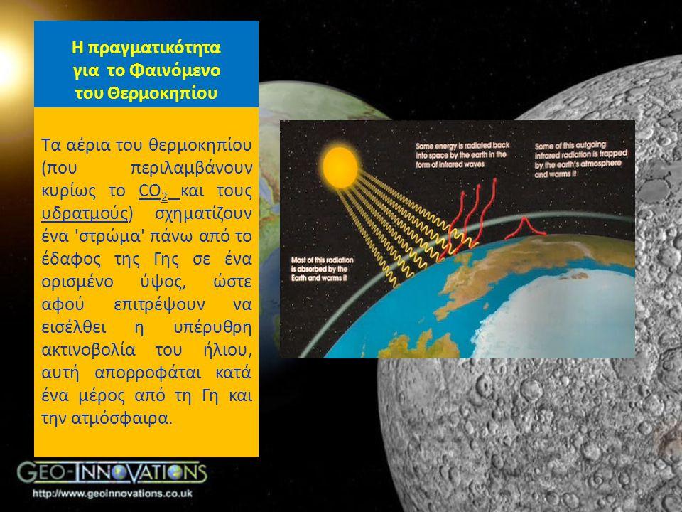 Η πραγματικότητα για το Φαινόμενο του Θερμοκηπίου Τα αέρια του θερμοκηπίου (που περιλαμβάνουν κυρίως το CO 2 και τους υδρατμούς) σχηματίζουν ένα 'στρώ