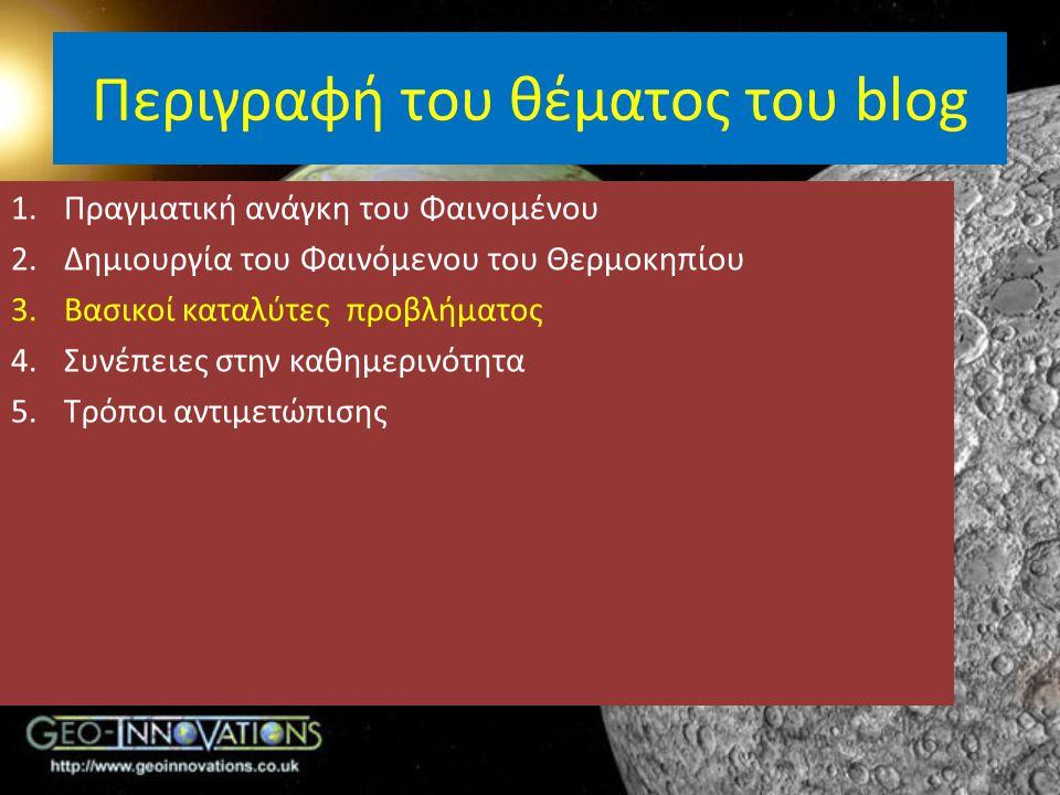 Περιγραφή του θέματος του blog 1.Πραγματική ανάγκη του Φαινομένου 2.Δημιουργία του Φαινόμενου του Θερμοκηπίου 3.Βασικοί καταλύτες προβλήματος 4.Συνέπε