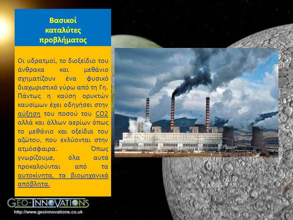 Βασικοί καταλύτες προβλήματος Οι υδρατμοί, το διοξείδιο του άνθρακα και μεθάνιο σχηματίζουν ένα φυσικό διαχωριστικό γύρω από τη Γη. Πάντως η καύση ορυ