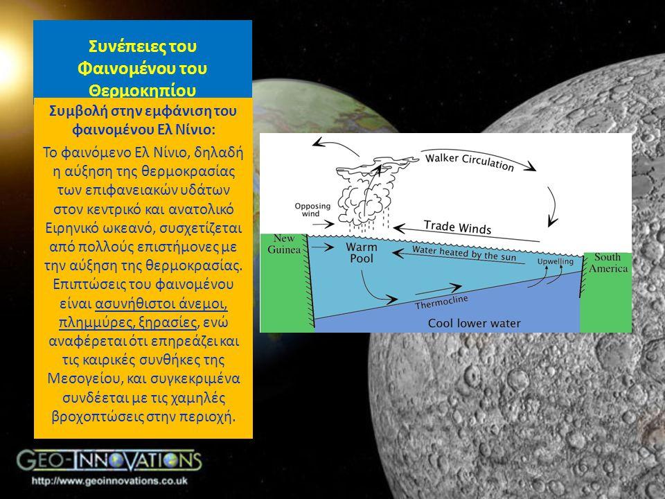 Συνέπειες του Φαινομένου του Θερμοκηπίου Συμβολή στην εμφάνιση του φαινομένου Ελ Νίνιο: Το φαινόμενο Ελ Νίνιο, δηλαδή η αύξηση της θερμοκρασίας των επ