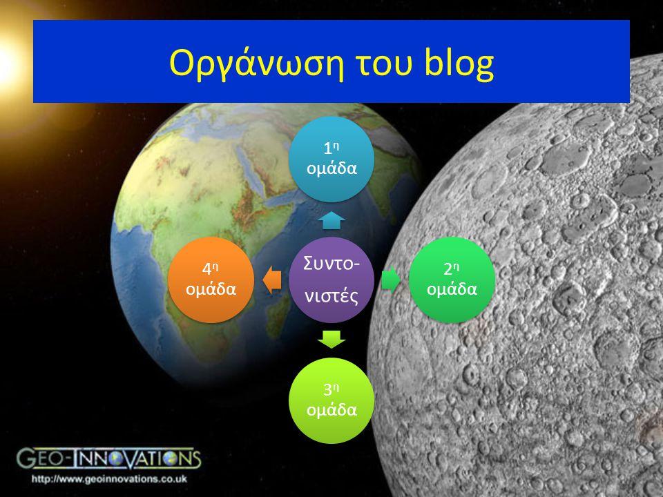 Οργάνωση του blog Συντο- νιστές 1 η ομάδα 2 η ομάδα 3 η ομάδα 4 η ομάδα
