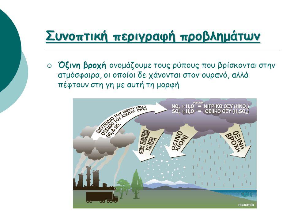 Συνοπτική περιγραφή προβλημάτων  Όξινη βροχή ονομάζουμε τους ρύπους που βρίσκονται στην ατμόσφαιρα, οι οποίοι δε χάνονται στον ουρανό, αλλά πέφτουν σ