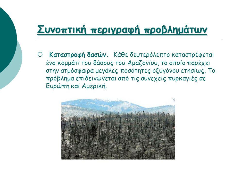 Συνοπτική περιγραφή προβλημάτων  Καταστροφή δασών. Κάθε δευτερόλεπτο καταστρέφεται ένα κομμάτι του δάσους του Αμαζονίου, το οποίο παρέχει στην ατμόσφ