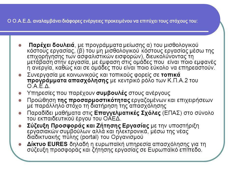 Ο Ο.Α.Ε.Δ. αναλαμβάνει διάφορες ενέργειες προκειμένου να επιτύχει τους στόχους του: Παρέχει δουλειά, με προγράμματα μείωσης α) του μισθολογικού κόστου