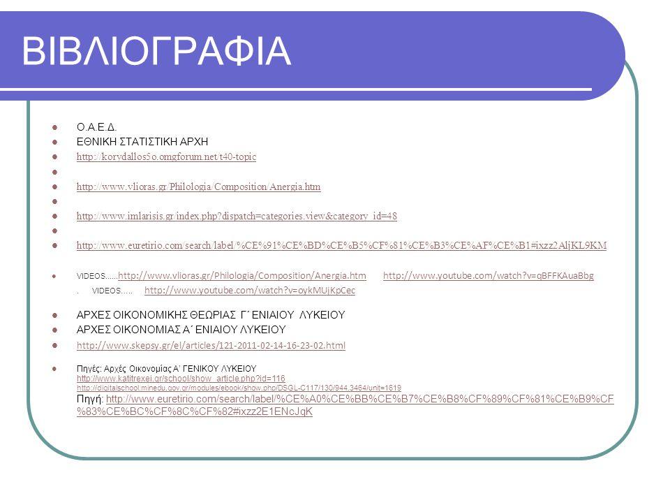 ΒΙΒΛΙΟΓΡΑΦΙΑ Ο.Α.Ε.Δ. ΕΘΝΙΚΗ ΣΤΑΤΙΣΤΙΚΗ ΑΡΧΗ http://korydallos5o.omgforum.net/t40-topic http://www.vlioras.gr/Philologia/Composition/Anergia.htm http: