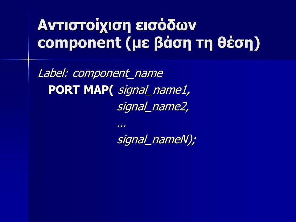 Αντιστοίχιση εισόδων component (με βάση τη θέση) Label: component_name PORT MAP( signal_name1, PORT MAP( signal_name1, signal_name2, signal_name2, … s
