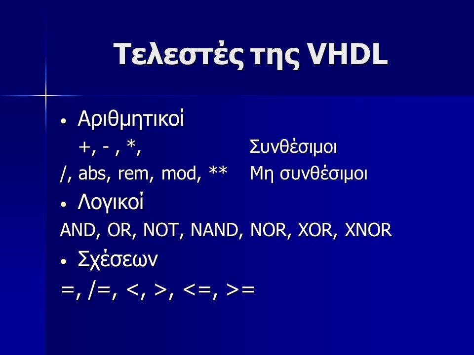 Τελεστές της VHDL Αριθμητικοί Αριθμητικοί +, -, *, Συνθέσιμοι /, abs, rem, mod, **Μη συνθέσιμοι Λογικοί Λογικοί AND, OR, NOT, NAND, NOR, XOR, XNOR Σχέ