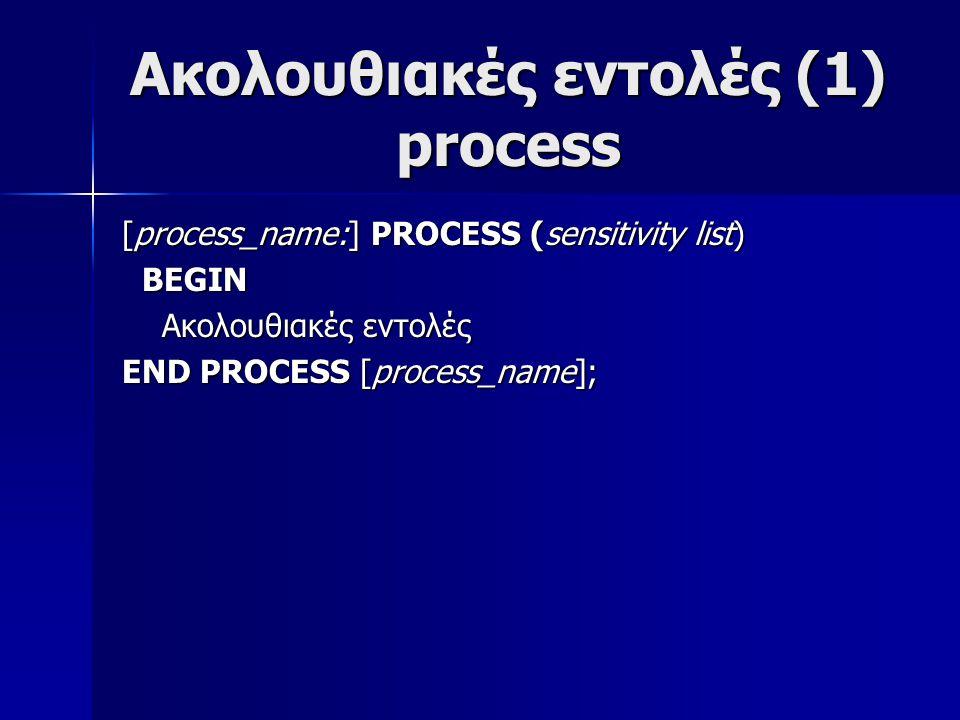 Ακολουθιακές εντολές (1) process [process_name:] PROCESS (sensitivity list) BEGIN BEGIN Ακολουθιακές εντολές Ακολουθιακές εντολές END PROCESS [process