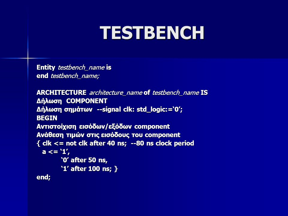 TESTBENCH Entity testbench_name is end testbench_name; ARCHITECTURE architecture_name of testbench_name IS Δήλωση COMPONENT Δήλωση σημάτων --signal clk: std_logic:='0'; BEGIN Αντιστοίχιση εισόδων/εξόδων component Ανάθεση τιμών στις εισόδους του component { clk <= not clk after 40 ns; --80 ns clock period a <= '1', a <= '1', '0' after 50 ns, '0' after 50 ns, '1' after 100 ns; } '1' after 100 ns; }end;