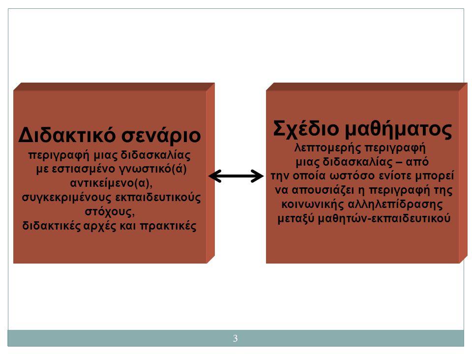 3 Διδακτικό σενάριο περιγραφή μιας διδασκαλίας με εστιασμένο γνωστικό(ά) αντικείμενο(α), συγκεκριμένους εκπαιδευτικούς στόχους, διδακτικές αρχές και π