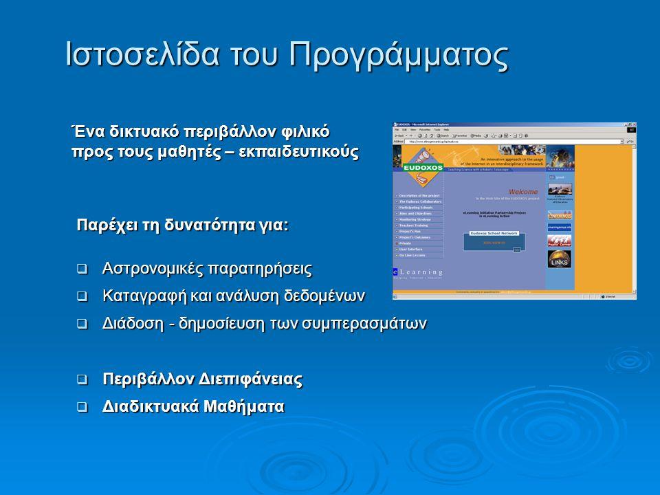 Ιστοσελίδα του Προγράμματος Ένα δικτυακό περιβάλλον φιλικό προς τους μαθητές – εκπαιδευτικούς Παρέχει τη δυνατότητα για:  Αστρονομικές παρατηρήσεις  Καταγραφή και ανάλυση δεδομένων  Διάδοση - δημοσίευση των συμπερασμάτων  Περιβάλλον Διεπιφάνειας  Διαδικτυακά Μαθήματα