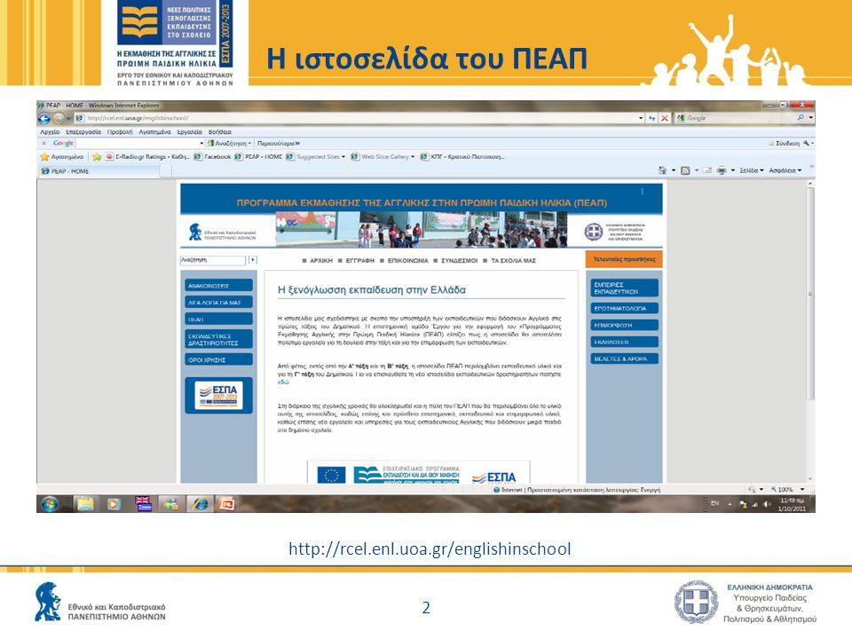 H ιστοσελίδα του ΠΕΑΠ http://rcel.enl.uoa.gr/englishinschool 2