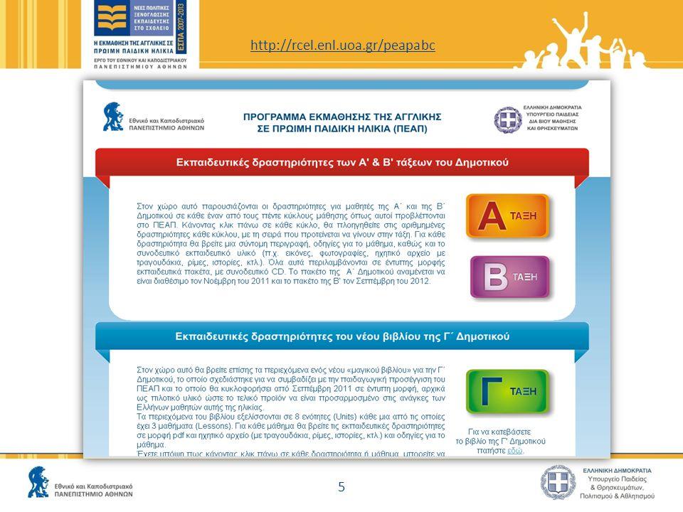 Τι άλλο περιλαμβάνει η ιστοσελίδα του ΠΕΑΠ http://rcel.enl.uoa.gr/englishinschool ● Το πεδίο «Σύνδεσμοι» περιλαμβάνει χρήσιμους συνδέσμους και μια νέα προσθήκη – ένα Ιστολόγιο με συνδέσμους σε οδηγούς χρήσης του διαδραστικού πίνακα: http://www.whiteboardblog.co.uk/guides/ 16