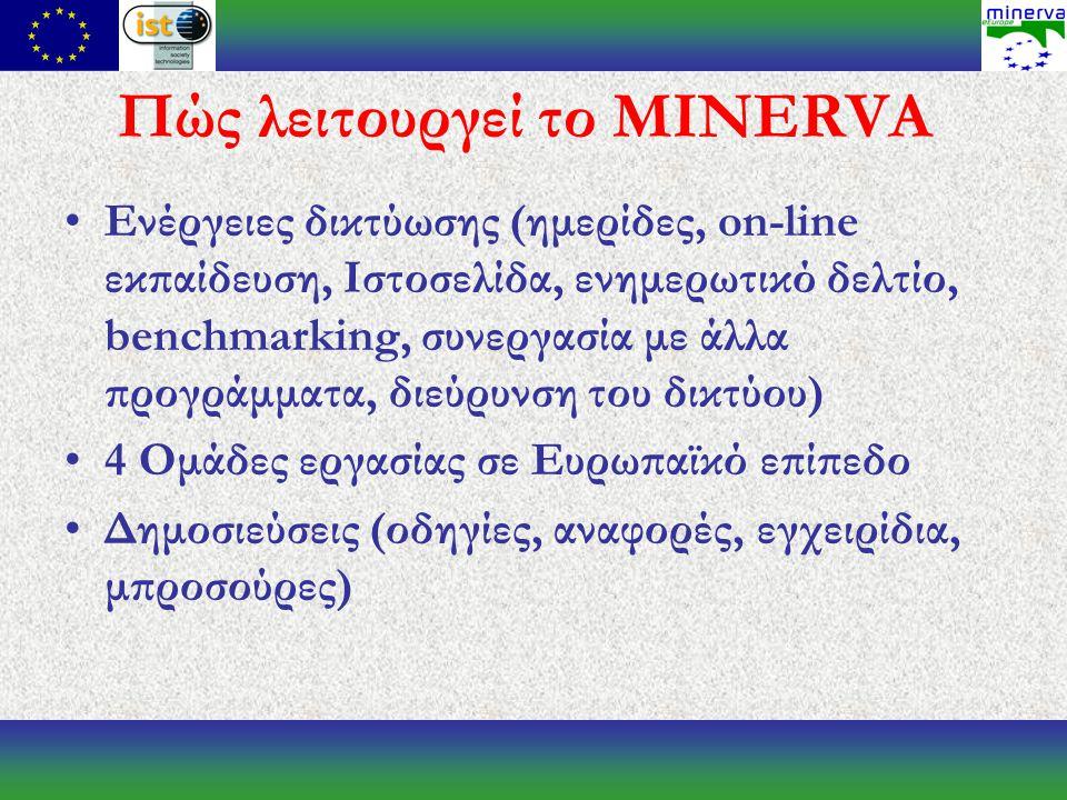 Πώς λειτουργεί το MINERVA Ενέργειες δικτύωσης (ημερίδες, on-line εκπαίδευση, Ιστοσελίδα, ενημερωτικό δελτίο, benchmarking, συνεργασία με άλλα προγράμματα, διεύρυνση του δικτύου) 4 Ομάδες εργασίας σε Ευρωπαϊκό επίπεδο Δημοσιεύσεις (οδηγίες, αναφορές, εγχειρίδια, μπροσούρες)