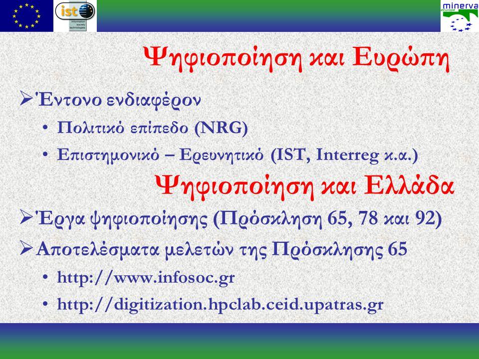Ψηφιοποίηση και Ευρώπη  Έντονο ενδιαφέρον Πολιτικό επίπεδο (NRG) Επιστημονικό – Ερευνητικό (IST, Interreg κ.α.)  Έργα ψηφιοποίησης (Πρόσκληση 65, 78 και 92)  Αποτελέσματα μελετών της Πρόσκλησης 65 http://www.infosoc.gr http://digitization.hpclab.ceid.upatras.gr Ψηφιοποίηση και Ελλάδα