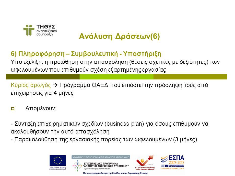 6) Πληροφόρηση – Συμβουλευτική - Υποστήριξη Υπό εξέλιξη: η προώθηση στην απασχόληση (θέσεις σχετικές με δεξιότητες) των ωφελουμένων που επιθυμούν σχέση εξαρτημένης εργασίας Κύριος αρωγός  Πρόγραμμα ΟΑΕΔ που επιδοτεί την πρόσληψή τους από επιχειρήσεις για 4 μήνες  Απομένουν: - Σύνταξη επιχειρηματικών σχεδίων (business plan) για όσους επιθυμούν να ακολουθήσουν την αυτό-απασχόληση - Παρακολούθηση της εργασιακής πορείας των ωφελουμένων (3 μήνες) Ανάλυση Δράσεων(6)