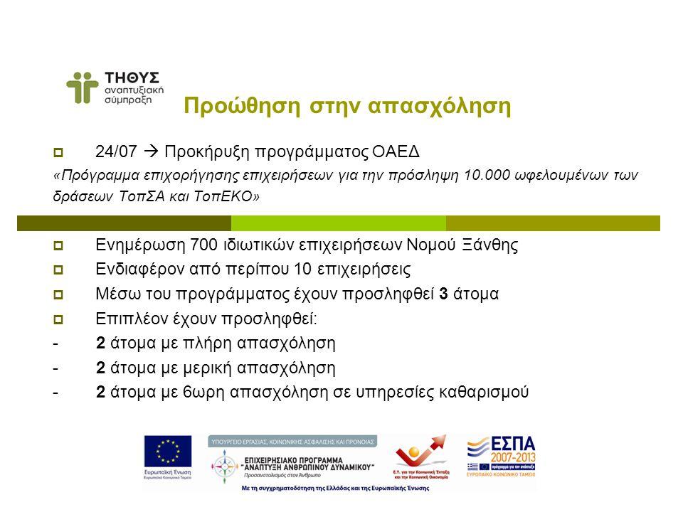  24/07  Προκήρυξη προγράμματος ΟΑΕΔ «Πρόγραμμα επιχορήγησης επιχειρήσεων για την πρόσληψη 10.000 ωφελουμένων των δράσεων ΤοπΣΑ και ΤοπΕΚΟ»  Ενημέρωση 700 ιδιωτικών επιχειρήσεων Νομού Ξάνθης  Ενδιαφέρον από περίπου 10 επιχειρήσεις  Μέσω του προγράμματος έχουν προσληφθεί 3 άτομα  Επιπλέον έχουν προσληφθεί: - 2 άτομα με πλήρη απασχόληση - 2 άτομα με μερική απασχόληση - 2 άτομα με 6ωρη απασχόληση σε υπηρεσίες καθαρισμού Προώθηση στην απασχόληση