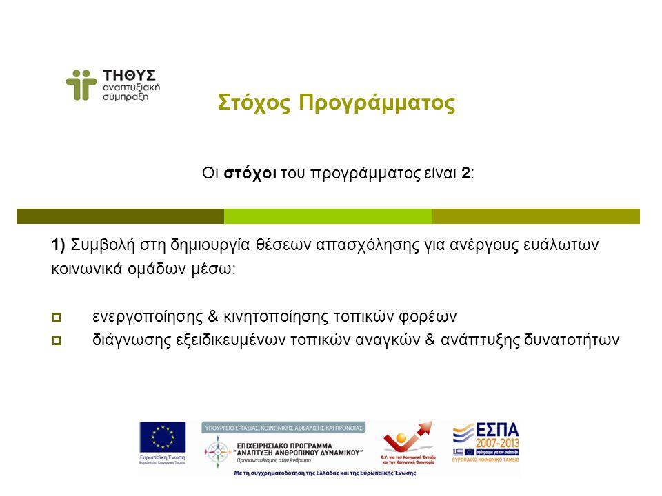 Οι στόχοι του προγράμματος είναι 2: 1) Συμβολή στη δημιουργία θέσεων απασχόλησης για ανέργους ευάλωτων κοινωνικά ομάδων μέσω:  ενεργοποίησης & κινητοποίησης τοπικών φορέων  διάγνωσης εξειδικευμένων τοπικών αναγκών & ανάπτυξης δυνατοτήτων Στόχος Προγράμματος