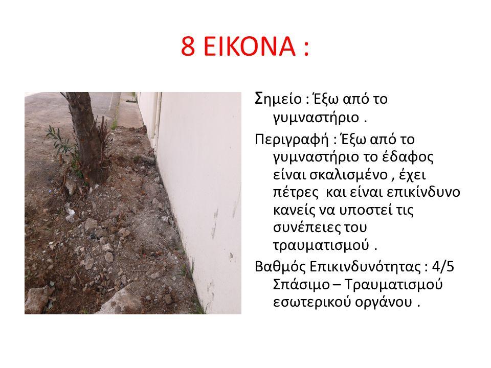 8 ΕΙΚΟΝΑ : Σ ημείο : Έξω από το γυμναστήριο. Περιγραφή : Έξω από το γυμναστήριο το έδαφος είναι σκαλισμένο, έχει πέτρες και είναι επικίνδυνο κανείς να