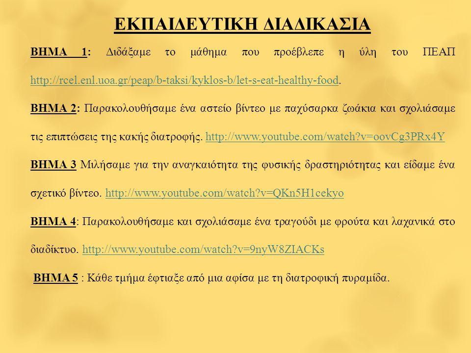 ΕΚΠΑΙΔΕΥΤΙΚΗ ΔΙΑΔΙΚΑΣΙΑ ΒΗΜΑ 1: Διδάξαμε το μάθημα που προέβλεπε η ύλη του ΠΕΑΠ http://rcel.enl.uoa.gr/peap/b-taksi/kyklos-b/let-s-eat-healthy-food.