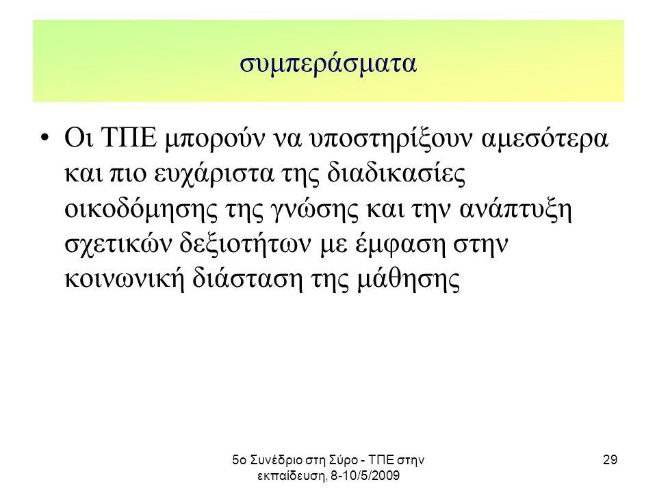 5ο Συνέδριο στη Σύρο - ΤΠΕ στην εκπαίδευση, 8-10/5/2009 29 συμπεράσματα Οι ΤΠΕ μπορούν να υποστηρίξουν αμεσότερα και πιο ευχάριστα της διαδικασίες οικ