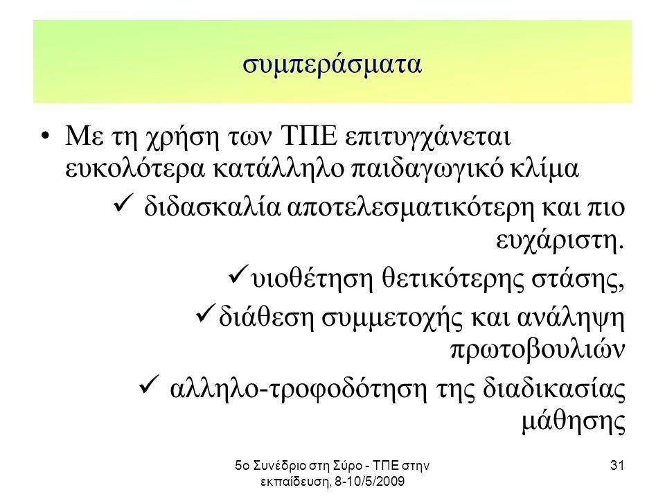 5ο Συνέδριο στη Σύρο - ΤΠΕ στην εκπαίδευση, 8-10/5/2009 31 συμπεράσματα Με τη χρήση των ΤΠΕ επιτυγχάνεται ευκολότερα κατάλληλο παιδαγωγικό κλίμα διδασ