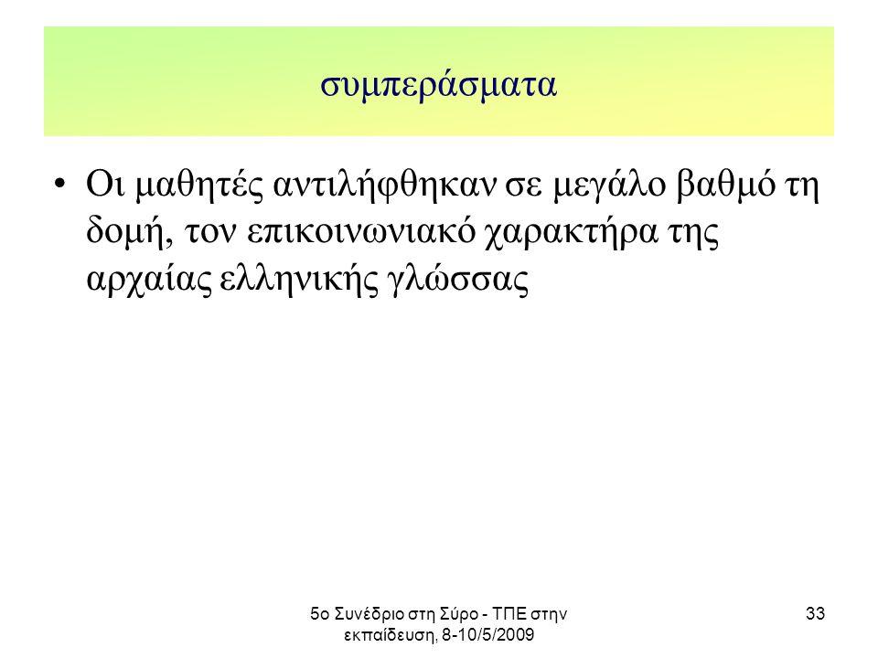 5ο Συνέδριο στη Σύρο - ΤΠΕ στην εκπαίδευση, 8-10/5/2009 33 συμπεράσματα Οι μαθητές αντιλήφθηκαν σε μεγάλο βαθμό τη δομή, τον επικοινωνιακό χαρακτήρα τ