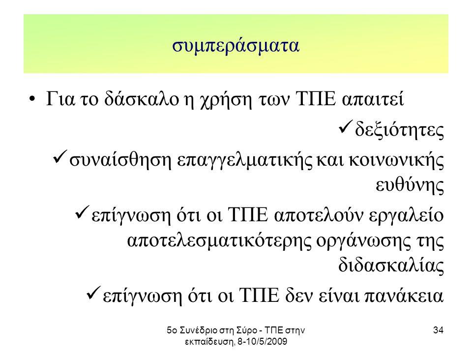 5ο Συνέδριο στη Σύρο - ΤΠΕ στην εκπαίδευση, 8-10/5/2009 34 συμπεράσματα Για το δάσκαλο η χρήση των ΤΠΕ απαιτεί δεξιότητες συναίσθηση επαγγελματικής κα