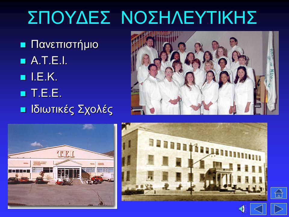 ΣΠΟΥΔΕΣ ΝΟΣΗΛΕΥΤΙΚΗΣ Πανεπιστήμιο Πανεπιστήμιο Α.Τ.Ε.Ι. Α.Τ.Ε.Ι. Ι.Ε.Κ. Ι.Ε.Κ. Τ.Ε.Ε. Τ.Ε.Ε. Ιδιωτικές Σχολές Ιδιωτικές Σχολές