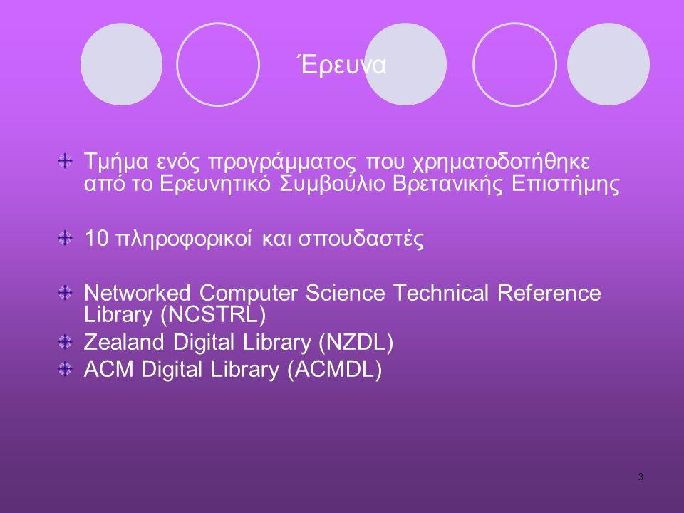 3 Έρευνα Τμήμα ενός προγράμματος που χρηματοδοτήθηκε από το Ερευνητικό Συμβούλιο Βρετανικής Επιστήμης 10 πληροφορικοί και σπουδαστές Networked Computer Science Technical Reference Library (NCSTRL) Zealand Digital Library (NZDL) ACM Digital Library (ACMDL)